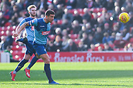 Adam El-Abd of Wycombe Wanderers (6) heads the ball back during the EFL Sky Bet League 1 match between Barnsley and Wycombe Wanderers at Oakwell, Barnsley, England on 16 February 2019.