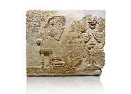 """Hittite relief sculpted orthostat stone panel  of Long Wall Limestone, Karkamıs, (Kargamıs), Carchemish (Karkemish), 900-700 BC. Anatolian Civilisations Museum.<br /> <br />  The hieroglyphics reads; """"I am Win-a-tis, beloved wife of my Lord Suhi, wherever and whenever my husband honours his name, he will honour my name as well with favours"""". Underneath, there are two goddess figures, one is naked with a horned head, holding her breasts with her hands. Her genitalia is indicated by a triangle. <br /> <br /> On a White Background. .<br />  <br /> If you prefer to buy from our ALAMY STOCK LIBRARY page at https://www.alamy.com/portfolio/paul-williams-funkystock/hittite-art-antiquities.html  - Type  Karkamıs in LOWER SEARCH WITHIN GALLERY box. Refine search by adding background colour, place, museum etc.<br /> <br /> Visit our HITTITE PHOTO COLLECTIONS for more photos to download or buy as wall art prints https://funkystock.photoshelter.com/gallery-collection/The-Hittites-Art-Artefacts-Antiquities-Historic-Sites-Pictures-Images-of/C0000NUBSMhSc3Oo"""