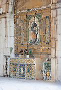 Decorative tiles at the Santo Amaro Chapel in Lisbon, Portugal