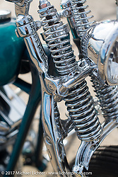 Small City Cycles' Todd Asin's custom 1951 Panhead at the docks where it was picked up with all of the invited builder's bikes for the Mooneyes show. Yokohama, Japan. Saturday December 2, 2017. Photography ©2017 Michael Lichter.