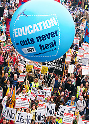 © under license to London News Pictures. 26/03/2011.  Hundreds of thousands of people take to the streets of London to protest against the Coalition Government cuts. Organised by the TUC the 'March for the Alternative' is the largest in London since the anti Iraq war protests. Photo credit should read Cliff Hide/LNP.