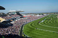 National Hunt Horse Racing - 2017 Randox Grand National Festival - Saturday, Day Three [Grand National Day]<br /> <br /> GV of the racecourse on a sunny day as the field approaches the bend in the 2nd race the 2.25 the Betway Mersey Novices' Hurdle  at Aintree Racecourse.<br /> <br /> COLORSPORT/WINSTON BYNORTH