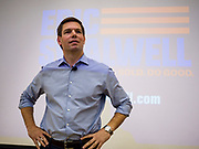 11 APRIL 2019 - AMES, IOWA: Rep. ERIC SWALWELL (D-CA) talks to a crowd of about 100 people at his town hall meeting on the campus of Iowa State University in Ames. Swalwell represents California's 15th District but is originally from Algona, Iowa. His appearance in Ames Thursday was his first appearance in Iowa since announcing his candidacy to be the Democratic nominee for the US Presidency on April 8, although he made about 20 trips to Iowa since the 2016 election. Iowa traditionally hosts the the first election event of the presidential election cycle. The Iowa Caucuses will be on Feb. 3, 2020.     PHOTO BY JACK KURTZ