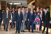 WUHAN, CHINA - JUNE 22: (CHINA OUT) <br /> <br /> King Philippe of Belgium Visits China<br /> <br /> King Philippe (R3) and Queen Mathilde (R2) of Belgium and Wang Jianlin (F,L1), chairman of Wanda Group, visit the Han Show theater co-created by Wanda Group and Dragone that whose stage performance exceeds the level of any performance in the world on June 22, 2015 in Wuhan, Hubei Province of China. King Philippe of Belgium is on his visit to China with Queen Mathilde from June 21 to June 27.<br /> ©Exclusivepix Media