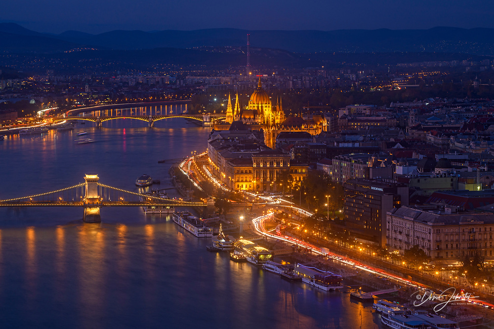 Views of Budapest from the Citadella- Danube and it's bridges at night, Budapest, Central Hungary, Hungary