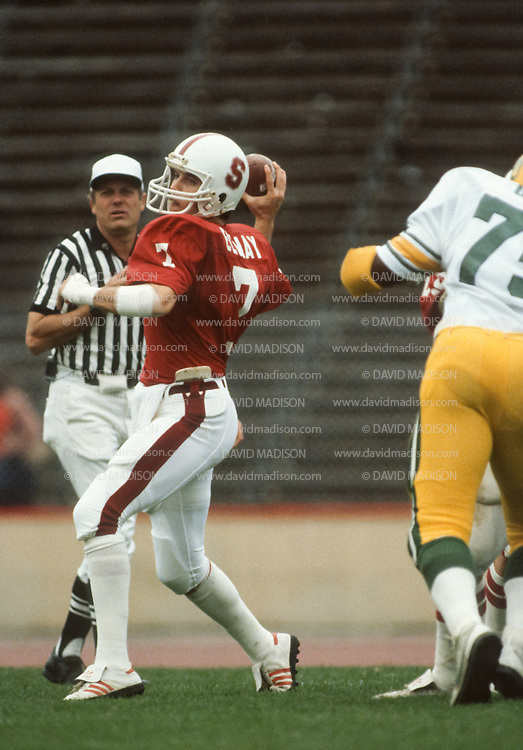 COLLEGE FOOTBALL:  John Elway #7 plays in a Stanford vs Oregon football game on November 14, 1981 at Stanford Stadium in Palo Alto, California.  Photograph by David Madison ( www.davidmadison.com ).