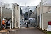 The main gate to the prison. HMP Send, closed female prison. Ripley, Surrey.