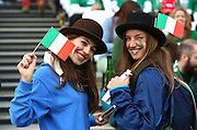 Italy fans prior to kick off during the Rugby World Cup Pool D match between Ireland and Italy at the Queen Elizabeth II Olympic Park, London, United Kingdom on 4 October 2015. Photo by Matthew Redman.