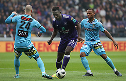April 29, 2018 - Brussels, BELGIUM - Charleroi's Dorian Dessoleil and Anderlecht's Silvere Ganvoula fight for the ball during the Jupiler Pro League match between RSC Anderlecht and Sporting Charleroi, in Brussels, Sunday 29 April 2018, on day six of the Play-Off 1 of the Belgian soccer championship. BELGA PHOTO VIRGINIE LEFOUR (Credit Image: © Virginie Lefour/Belga via ZUMA Press)
