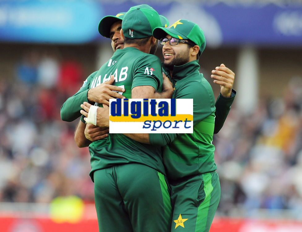 Cricket - 2019 ICC Cricket World Cup - Group Stage: England vs. Pakistan<br /> <br /> Wahab Riaz of Pakistan is congratulated by Imam after taking the catch of England's Jofra Archer, at Trent Bridge, Nottingham.<br /> <br /> COLORSPORT/ANDREW COWIE