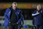Ipswich Town manager Paul Lambert and AFC Wimbledon manager Glyn Hodges walking off the pitch during the EFL Sky Bet League 1 match between AFC Wimbledon and Ipswich Town at the Cherry Red Records Stadium, Kingston, England on 11 February 2020.