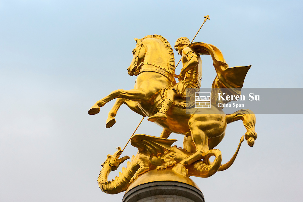 Golden Statue of St. George in Freedom Square, Tbilisi, Georgia