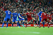 Mohamed Salah of Liverpool on the ball under pressure form Harry Maguire of Leicester City. Premier League match, Liverpool v Leicester City at the Anfield stadium in Liverpool, Merseyside on Saturday 30th December 2017.<br /> pic by Chris Stading, Andrew Orchard sports photography.