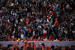 Adam Levine of Maroon 5 on stage during Capital's Summertime Ball. The world's biggest stars perform live for 80,000 Capital listeners at Wembley Stadium at the UK's biggest summer party. PRESS ASSOCIATION PHOTO. Picture date: Saturday June 8, 2019. Photo credit should read: Isabel Infantes/PA Wire.