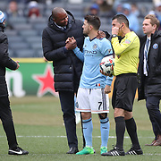 NEW YORK, NEW YORK - April 12: New York City FC head Coach Patrick Vieira talks with David Villa #7 of New York City FC before the start of the second half during the New York City FC Vs San Jose Earthquakes regular season MLS game at Yankee Stadium on April 1, 2017 in New York City. (Photo by Tim Clayton/Corbis via Getty Images)