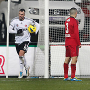 Besiktas's Hugo Almedia (L) during their Turkish superleague soccer match Besiktas between Gaziantepspor at BJK Inonu Stadium in Istanbul Turkey on Tuesday, 05 January 2012. Photo by TURKPIX