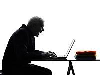 One Caucasian Senior Business Man computing laptop happy Silhouette White Background
