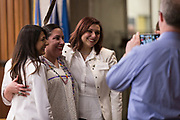 Lindsay Lemmer, Alder Dist. 3, center, poses for a picture before the swearing in ceremony for Satya Rhodes-Conway and newly elected Alders at the City County Building in Madison, WI on Tuesday, April 16, 2019.