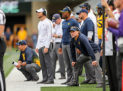 Sep 22, 2018; Morgantown, WV, USA; West Virginia Mountaineers head coach Dana Holgorsen watches a play along the sidelines during the fourth quarter against the Kansas State Wildcats at Mountaineer Field at Milan Puskar Stadium. Mandatory Credit: Ben Queen-USA TODAY Sports