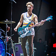 Kevin Ray on bass guitar with Walk the Moon opening for FUN on 6/27/13 at The Marcus Amphitheater during Summerfest in Milwaukee, Wi. Photo © 2013 Jennifer Rondinelli Reilly.  All RIghts Reserved. No use without permission. Contact me for any reuse or licensing inquiries.