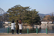 The peacful Gyeonghoeru Pavilion and pond at the Gyeongbokgung Palace on 26th February 2018 in Seoul, South Korea. Gyeongbokgung, also known as Gyeongbokgung Palace or Gyeongbok Palace, was the main royal palace of the Joseon dynasty. Built in 1395, it is located in northern Seoul.