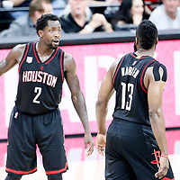 01 May 2017: Houston Rockets guard Patrick Beverley (2) talks to Houston Rockets guard James Harden (13) during the Houston Rockets 126-99 victory over the San Antonio Spurs, in game 1 of the Western Conference Semi Finals, at the AT&T Center, San Antonio, Texas, USA.