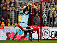 Billy Sharp of Sheffield Utd scores the first goalpost Tim Krul of Norwich City during the Premier League match at Bramall Lane, Sheffield. Picture date: 7th March 2020. Picture credit should read: Simon Bellis/Sportimage