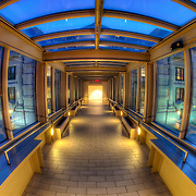 Skywalk above Main St connecting Union Station with the Crown Center complex. Kansas City, Missouri.