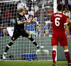 Goalkeeper Loris Karius of Liverpool CF missing the ball, Dejan Lovren of Liverpool CF during the UEFA Champions League final between Real Madrid and Liverpool on May 26, 2018 at NSC Olimpiyskiy Stadium in Kyiv, Ukraine