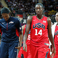 05 August 2012: USA Tina Charles goes back to the locker room at halftime during 114-66 Team USA victory over Team China, during the women's basketball preliminary, at the Basketball Arena, in London, Great Britain.