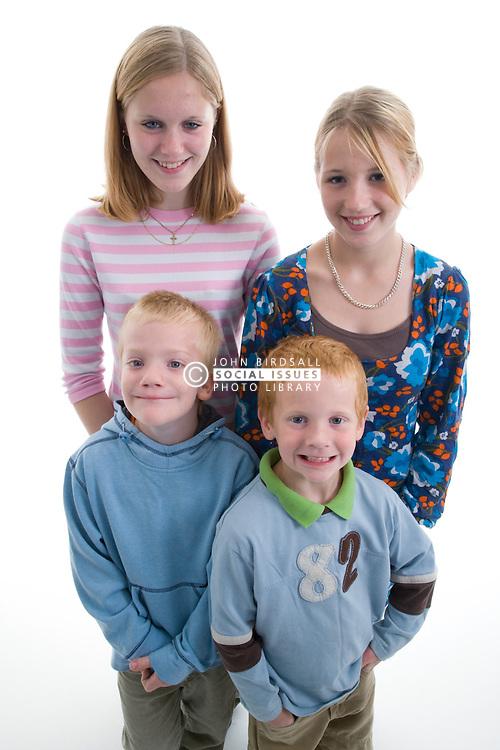 Group of siblings in the studio,