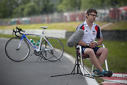 © Licensed to London News Pictures. 19/06/12. Brands Hatch, Kent. Chris Furber - Lead Coach for GB Paralympic cycling team being interviewed at Brands Hatch, Kent. Up to 150 international athletes come to train at the race circuit at Brands Hatch in Kent for the Paralympic Road Cycling competition taking place on 5-8 September 2012. Picture credit should read Manu Palomeque/LNP