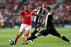 August 21, 2018 - Lisbon, Portugal - Benfica's Serbian midfielder Andrija Zivkovic (L) vies with PAOK's midfielder Vieirinha from Portugal (R ) during the UEFA Champions League play-off first leg match SL Benfica vs PAOK FC at the Luz Stadium in Lisbon, Portugal on August 21, 2018. (Credit Image: © Pedro Fiuza via ZUMA Wire)