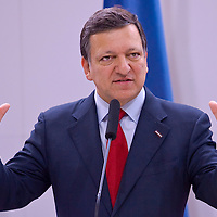 J. M. Barroso president of the European Commission holds a press conference after the EU-USA summit.