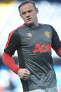 Wayne Rooney, the Manchester United captain during pre-match warm up.  Barclays Premier league match, Chelsea v Manchester Utd at Stamford Bridge Stadium in London on Saturday 18th April 2015.<br /> pic by John Patrick Fletcher, Andrew Orchard sports photography.