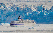 Cruise ship in ice floe off the Hubbard Glacier  In The Wrangell St Elias National Park,