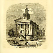 City Hall, Maysville, KY from the book ' Historical Sketches Of Kentucky (1847) ' ITS HISTORY, ANTIQUITIES, AND NATURAL CURIOSITIES, GEOGRAPHICAL, STATISTICAL, AND GEOLOGICAL DESCRIPTIONS. WITH ANECDOTES OF PIONEER LIFE By Lewis Collins. Published by Lewis Collins, Maysville, KY. and J. A. & U. P. James Cincinnati. in 1847