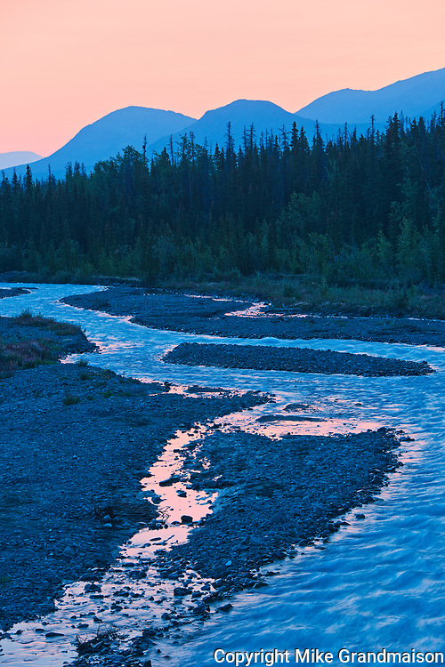 Deasadeash River at dawn and the Kluane Ranges, the easternmost of the St Elias Mountains. <br />Kluane National Park<br />Yukon<br />Canada