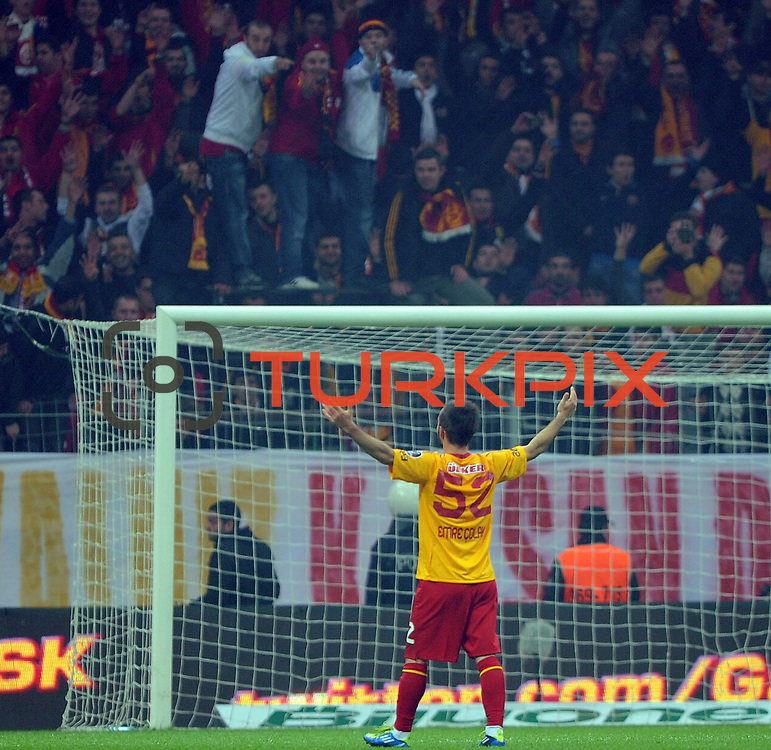 Galatasaray's Emre Colak celebrate his goal during their Turkish Super League soccer match Galatasaray between IBBSpor at the TT Arena at Seyrantepe in Istanbul Turkey on Tuesday, 03 January 2012. Photo by TURKPIX