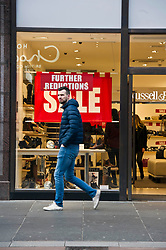Pictured: <br /> <br /> Once Christmas is past Glasgow gets ready to get back to normal straight away, even on Hogmanay, shoppers are enticed out of their stupor to buy, buy, buy<br /> <br /> Ger Harley | EEm 31 December 2018