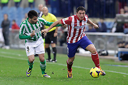 27.10.2013, Estadio Vicente Calderon, Madrid, ESP, Primera Division, Atletico Madrid vs Real Betis, 10. Runde, im Bild Atletico de Madrid's Gabi (R) and Real Betis Chuli (L) // Atletico de Madrid's Gabi (R) and Real Betis Chuli (L) during the Spanish Primera Division 10th round match between Club Atletico de Madrid and Real Betis at the Estadio Vicente Calderon in Madrid, Spain on 2013/10/28. EXPA Pictures © 2013, PhotoCredit: EXPA/ Alterphotos/ Victor Blanco<br /> <br /> *****ATTENTION - OUT of ESP, SUI*****