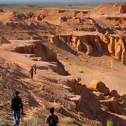 Barren landscape of flaming desert cliffs at Bayan Zag (, Mongolia - Sep. 2008) (Image ID: 080906-1613181a)