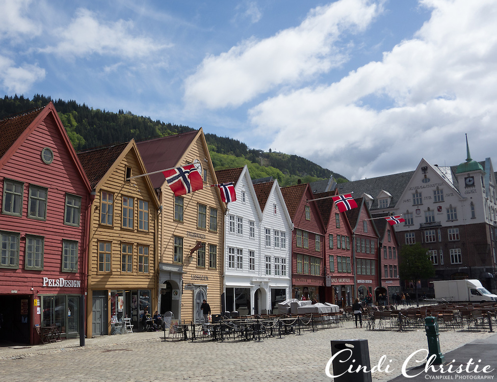 The Bryggen area of Bergen, Norway, is seen on a May 22, 2013. Bryggen, also known as the Hanseatic wharf, pays tribute to the trading that has a taken place here since the 1400s. It is on the UNESCO World Heritage list.  (© 2013 Cindi Christie)