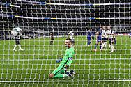 Goal 0-1 Chelsea forward Timo Werner (11) scores a goal and Tottenham Hotspur goalkeeper Hugo Lloris (1) shows his frustration during the EFL Cup Fourth Round match between Tottenham Hotspur and Chelsea at Tottenham Hotspur Stadium, London, United Kingdom on 29 September 2020.