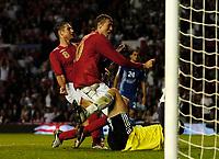 Photo: Daniel Hambury.<br />England v Greece. International Friendly. 16/08/2006.<br />England's Peter Crouch celebrates his first goal. 3-0.