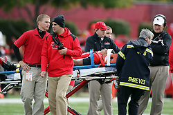25 October 2008: Medical staff assist Jason Tate who is loaded into an ambulance at mid-field after a collision in which Tate stop Pat Paschall. The North Dakota Bison defeated the Illinois State Redbirds at Hancock Stadium on campus of Illinois State University in Normal Illinois