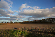 Ploughed fields on agricultural land in Norfolk. At Redgrave, near Diss, UK.