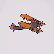 Digitally enhanced side view image of a biplane in flight