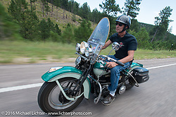 Thomas Hinderholtz on the Annual Cycle Source and Michael Lichter Rides (combined this year) left from the new Broken Spoke area of the Iron Horse Saloon during the Sturgis Black Hills Motorcycle Rally. SD, USA.  Wednesday, August 10, 2016.  Photography ©2016 Michael Lichter.