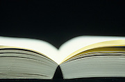 side view of open book